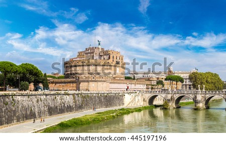 Castel Sant Angelo in a summer day in Rome, Italy #445197196