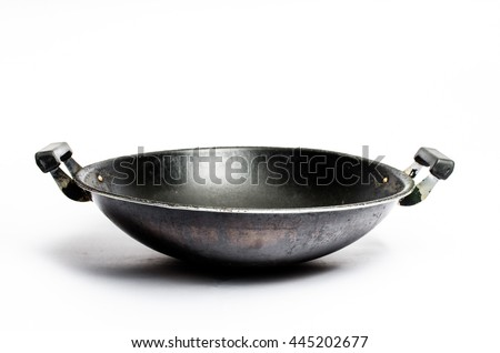 old chinese wok pan isolated white #445202677