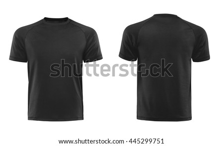 Black T-shirts front and back used as design template isolated on white Royalty-Free Stock Photo #445299751