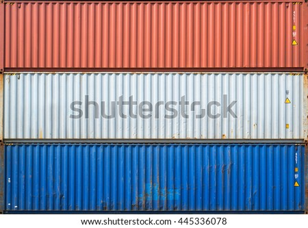 The surface texture of the sea container.Three containers without labels. #445336078