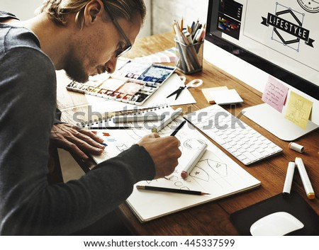 Artist Creative Designer Illustrator Graphic Skill Concept Royalty-Free Stock Photo #445337599