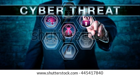 Cybercrime investigator pushing CYBER THREAT on an interactive touch screen monitor. Business risk metaphor. Information technology and computer security concept for potential attacks in cyberspace. Royalty-Free Stock Photo #445417840