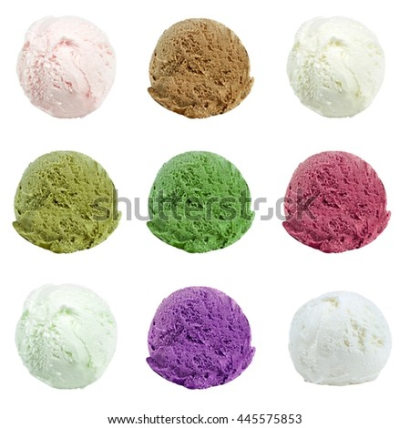 Ice cream scoops isolated on white background. #445575853