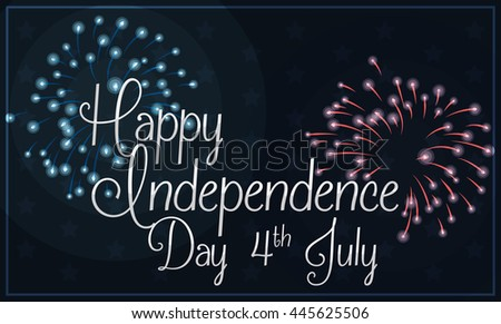 Banner with silver Independence Day greeting text in night sky with blue and red fireworks. #445625506