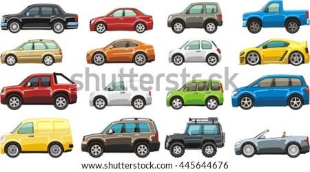 cartoon passenger car lorry and van for illustration