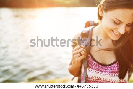 Wanderlust Pigeon Traveler Lifestyle Nature Trip Concept #445736350