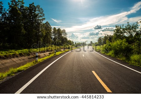 Open road. Beautiful grassland road in Thailand.Highland road .Asphalt road in Chiangmai.  #445814233