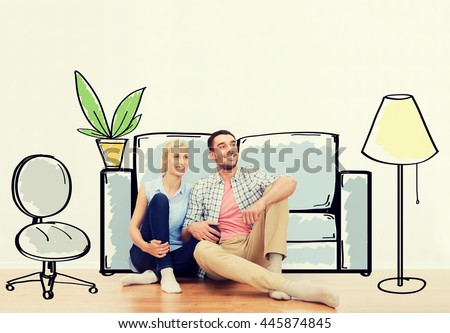 people, repair, moving in, interior and real estate concept - happy couple of man and woman sitting on floor at new home over furniture cartoon or sketch background #445874845