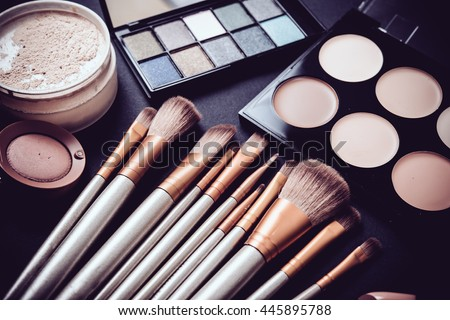 Professional makeup brushes and tools, make-up products set Royalty-Free Stock Photo #445895788