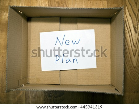 paper Note in paper box new plan Concept #445941319