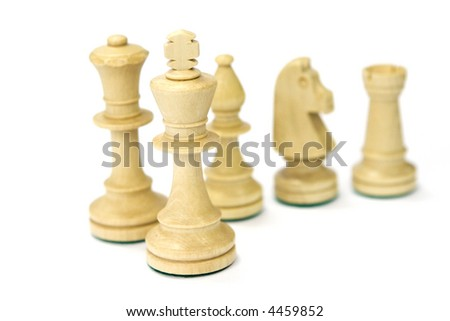 Wooden chess pieces isolated on white #4459852