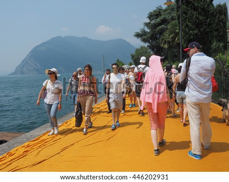 LAKE ISEO, ITALY - CIRCA JUNE 2016: The Floating Piers site specific landscape artwork by Christo and Jeanne Claude #446202931