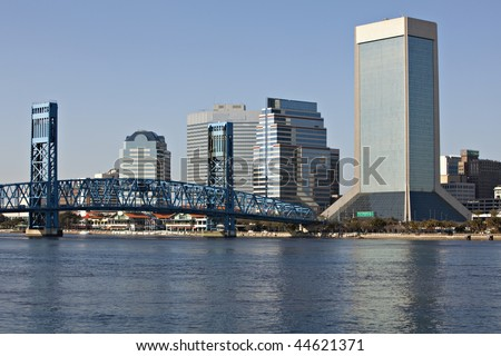 Beautiful Jacksonville, Florida skyline with reflections in St. John's River