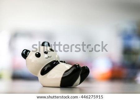 Stuffed panda on the table