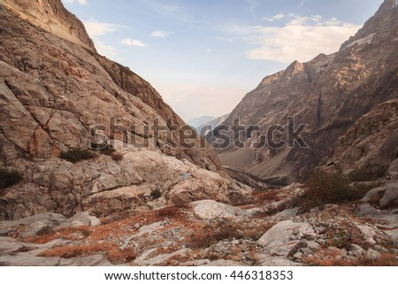 Mountain peaks in French Alps, Ecrins, France #446318353