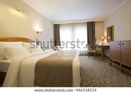 Classic style hotel bedroom interior #446318554