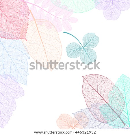Beautiful background with colored leaves . #446321932