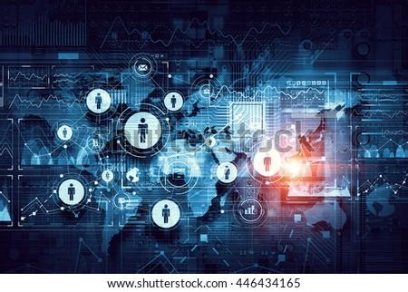 Global cloud technology . mixed media #446434165