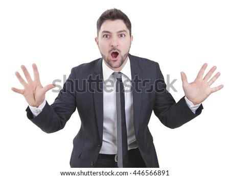 middle-aged surprised elegant businessman with blue suit  #446566891