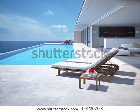 luxury swimming pool. 3d rendering #446586346