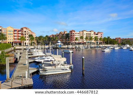 Naples Bay marina in florida USA from Tamiami Trail #446687812