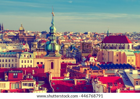 Red Prague roofs - view from the City Hall, travel european vintage hipster background #446768791