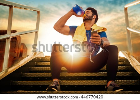 Picture of a young athletic man after training