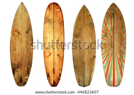 Vintage surfboard isolated on white - Retro styles 60's  #446823607