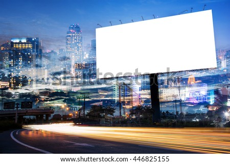 double exposure of blank billboard for advertisement at twilight time with light trails on the road at dusk  #446825155