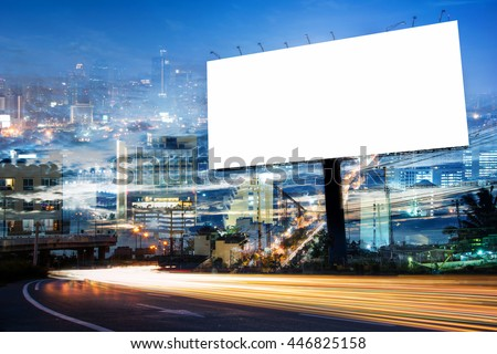 double exposure of blank billboard for advertisement at twilight time with light trails on the road at dusk  #446825158