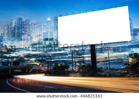 double exposure of blank billboard for advertisement at twilight time with light trails on the road at dusk  #446825161