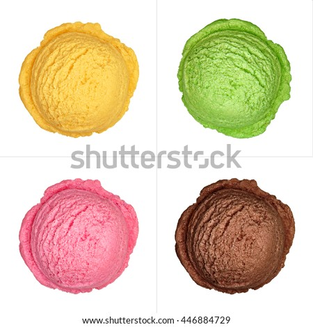 strawberry chocolate mint and mango ice cream scoops from top, top view or from above isolated on white background #446884729