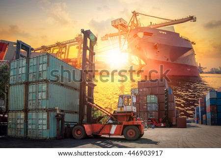 Business logistic concept, Containers shipping, forklift handling container box loading for logistic Import Export background #446903917