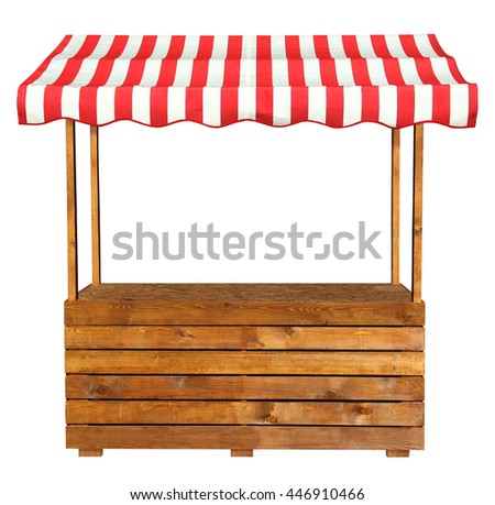 Wooden market stand stall with red white striped awning #446910466