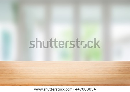 Empty wooden table and room interior decoration background, product montage display,window background. #447003034