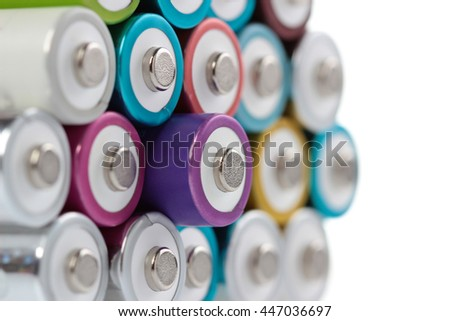 Several AA batteries in perspective closeup view on white background #447036697