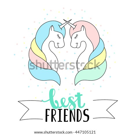 Best friends lettering with Unicorns and stars. Cute baby vector illustration.