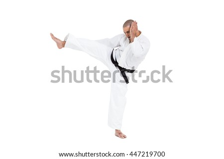 Fighter performing karate stance on white background #447219700