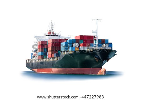 Container Cargo ship isolated on white background, Freight Transportation and Logistic, Shipping, Nautical Vessel. Royalty-Free Stock Photo #447227983