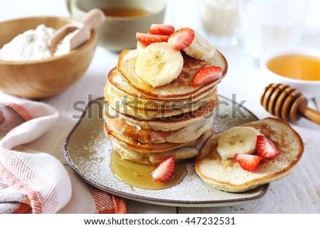 Gluten-free: Pancake with rice milk and rice flour Royalty-Free Stock Photo #447232531