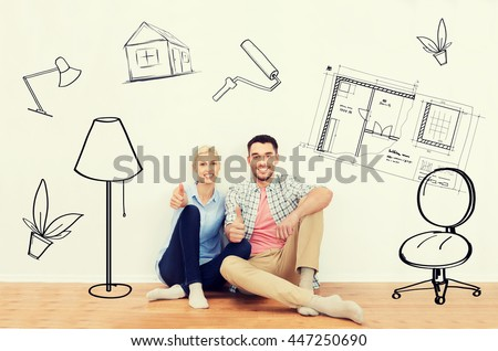 home, people, repair, moving and real estate concept - happy couple sitting on floor and showing thumbs up at new place over interior doodles background #447250690