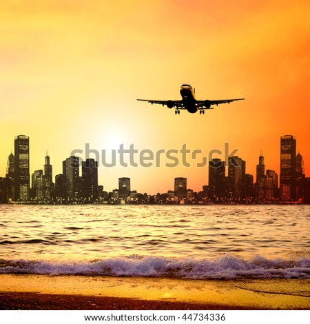 Beautiful sea nature landscape on the sunrise sky with airplane #44734336
