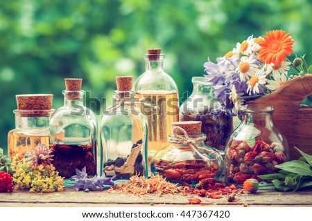 Bottles of tincture or potion and dry healthy herbs, bunch of healing herbs in wooden box on table outdoors. Herbal medicine. Retro styled. #447367420