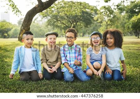 Children Friendship Togetherness Playful Happiness Concept #447376258