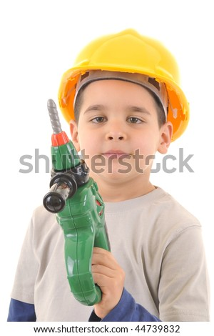 Little kid as a construction worker wearing yellow helmet holding drill like a gun.White background vertical studio picture. Royalty-Free Stock Photo #44739832
