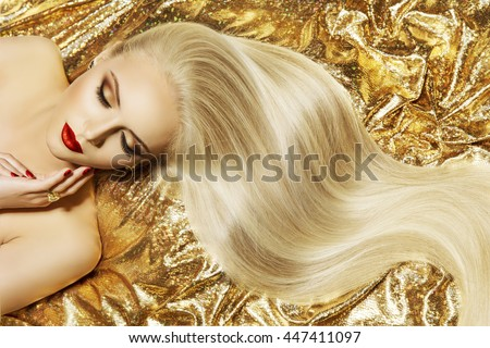 Fashion Model Gold Color Hair Style, Woman Long Waving Hairstyle #447411097