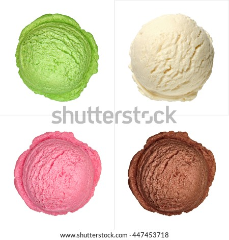 mint, strawberry vanilla and chocolate ice cream scoops from top or top view isolated on white background #447453718