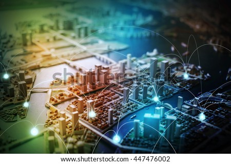 modern city diorama and wireless sensor network, sensor node and connecting line, information communication technology, internet of things, abstract image visual Royalty-Free Stock Photo #447476002