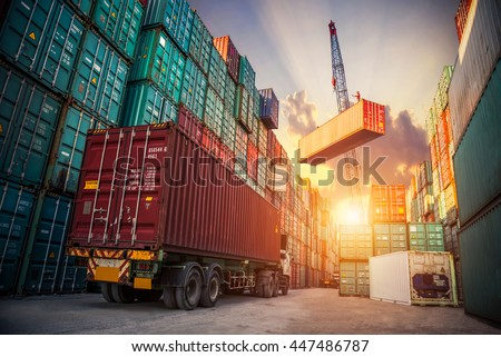 Business Logistics concept, map global partner connection of Container Cargo freight ship for Logistic Import Export background Royalty-Free Stock Photo #447486787