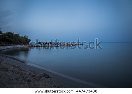 Sunrise over the sea at Zakythos. Ionian Sea. Long exposure photography #447493438